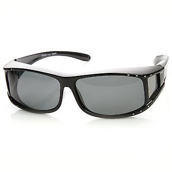Womens Rechteck polarisierte Linse Cover Wrap Sonnenbrillen mit Seite Objektiv