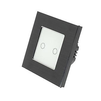 LumoS nero alluminio spazzolato 2 Gang 1 modo remoto WIFI/4G Touch LED luce bianco gruppo interruttore