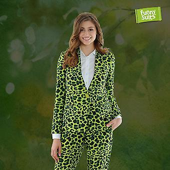 Jaggreen groene Jaguar dames kostuum Miss Green 2-delig kostuum deluxe EU maten