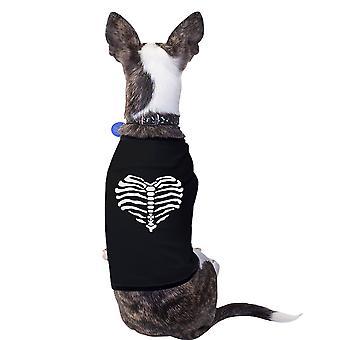 قلب هيكل عظمى مضحك هالوين زي التي شيرت للهدايا الكلاب الصغيرة