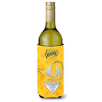 Bikini Badeanzug gelb Polkadot Wein Flasche Beverge Isolator Hugger