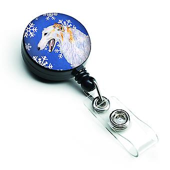 Borzoi Winter Snowflakes Holiday Retractable Badge Reel