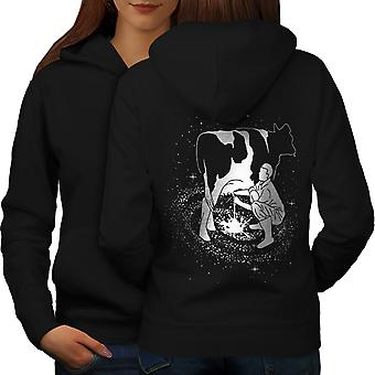 Space Cow Milk Fantasy Women BlackHoodie Back | Wellcoda