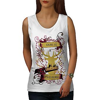 Fury Deer King Animal Women WhiteTank Top | Wellcoda