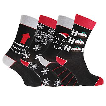 Mens Christmas Greeting Assorted Novelty Socks (4 Pairs)