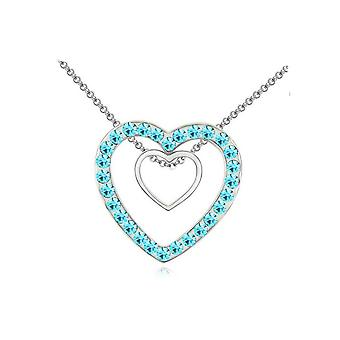 Silver Hearts Pendant with Crystal Blue Necklace