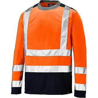 Dickies Mens Long Sleeve dois tons Oi Vis Workwear segurança T camisa