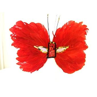 Feathered Mask Red Butterfly With Sequin Eyes And Nose (1)