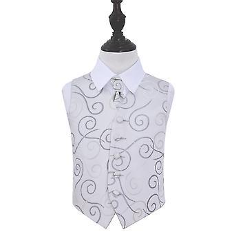Sølv bla bryllup vest & Cravat sett for gutter