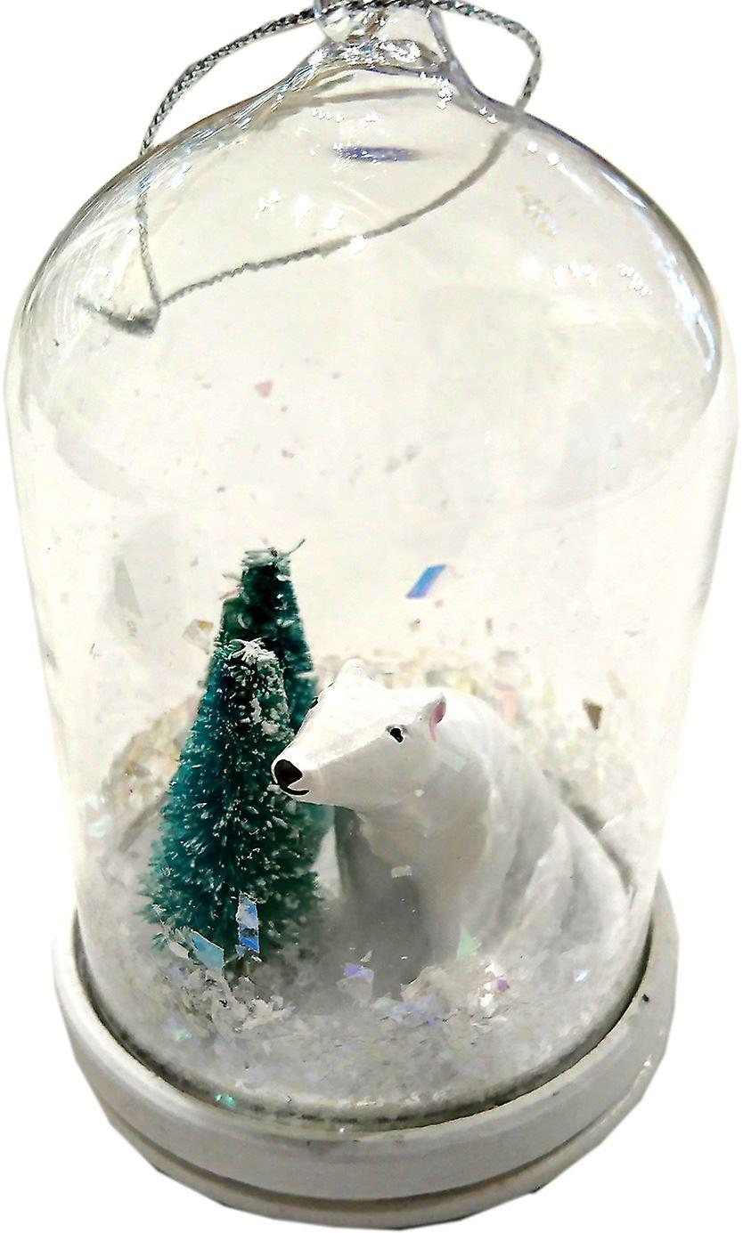Lilypond Crafts & Gifts Domed Christmas Decoration Polar Bear & Trees