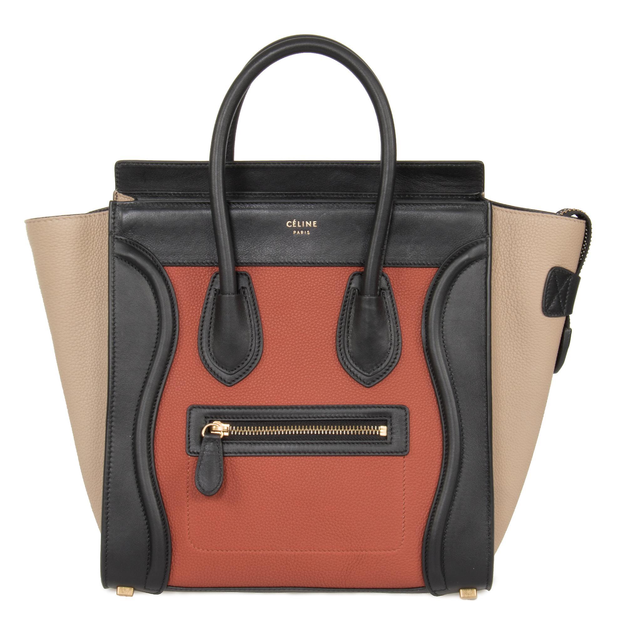 Celine mikro bagasjen skinnpose | Trefargers svart Tan