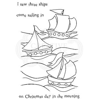Woodware Three Ships Clear Magic Stamp 4 Set***