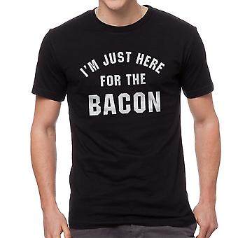 Funny I'm Just Here For The Bacon Graphic Men's Black T-shirt