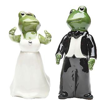 Frog Wedding Couple Bride and Groom Salt and Pepper Shaker Set