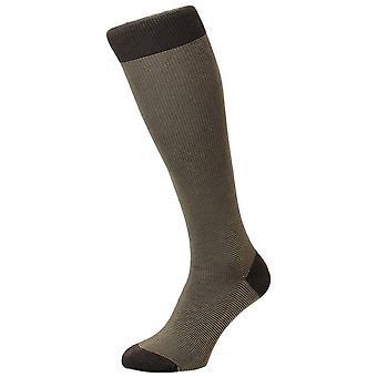 Pantherella Tewkesbury Birdseye Cotton Lisle Over the Calf Socks - Dark Brown Mix