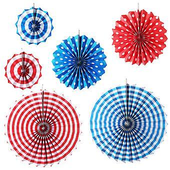 TRIXES 6PC Pack assortiment Stripe et Dots Fan Party décorations
