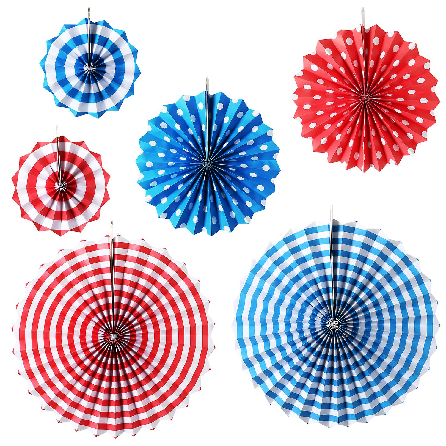 TRIXES 6PC Pack Assorted Stripe and Dots Fan Party Decorations