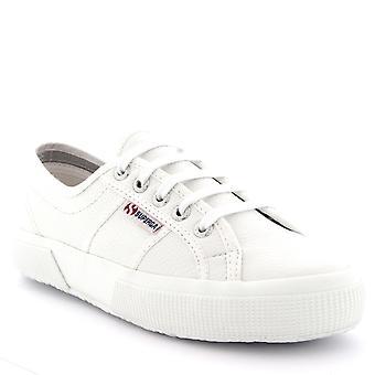 Womens Superga 2750 Efglu spets upp läder låg topp vit Casual utbildare