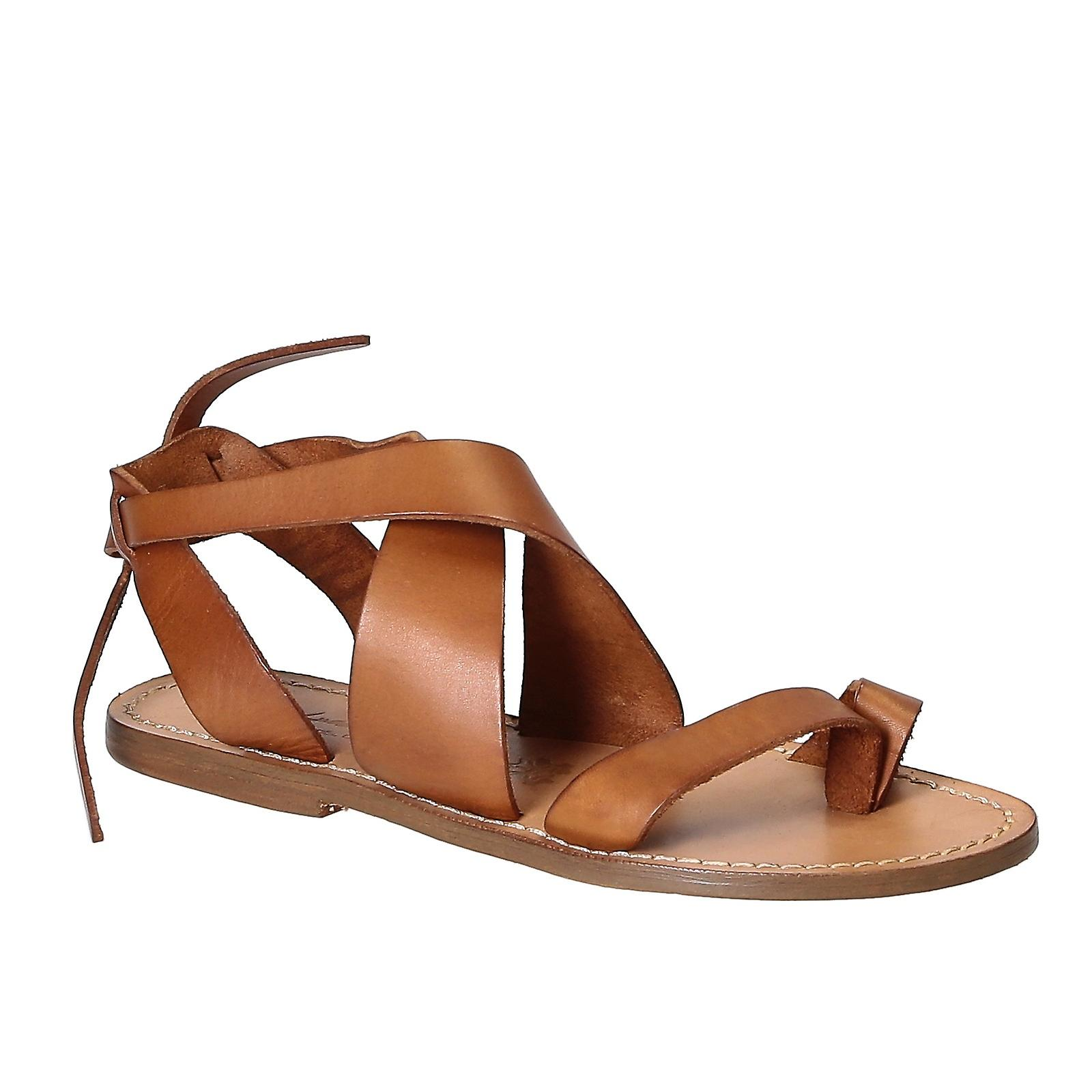 Women sandals in tan Leather handmade in Italy h2xzk