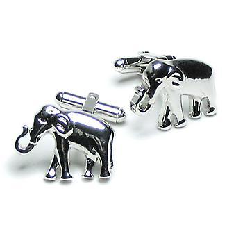 Silver-Tone Men's Cuff Links Elephant Shaped CuffLinks
