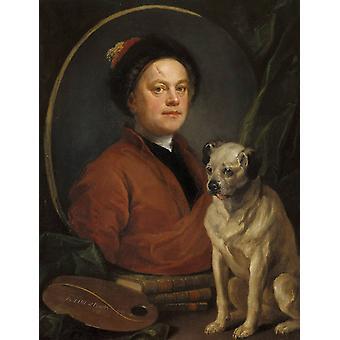 Selvportræt med en Pug, William Hogarth, 50x40cm