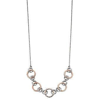 Elements Silver Multi Link Necklace - Silver/Rose Gold