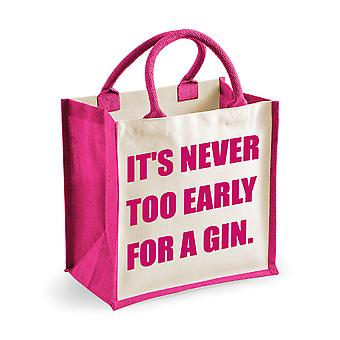 Medium Jute Bag It's Never Too Early For A Gin Pink Bag