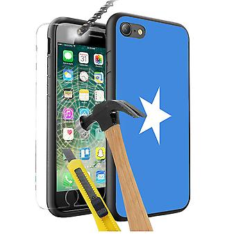 For Apple iPhone 7 Plus - Somalia Flag Design Printed Black Case Skin Cover with Tempered Glass - 0161 by i-Tronixs