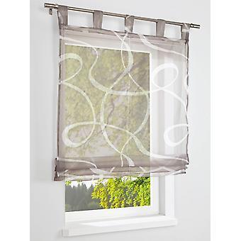Heine home modern Roman shade with geometrical pattern strap suspension Brown-cream