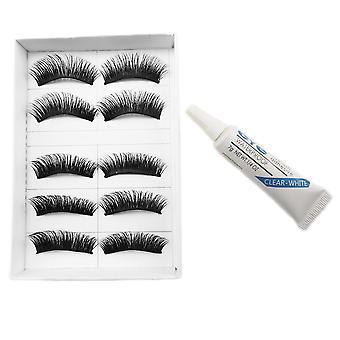 10pcs luxurious long false eyelashes-Saga + glue
