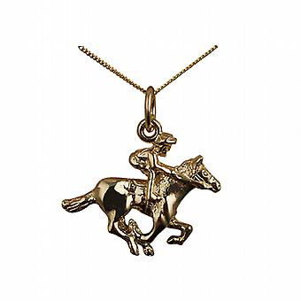 9ct Gold 17x21mm galloping Horse and Jockey Pendant with a curb Chain 20 inches