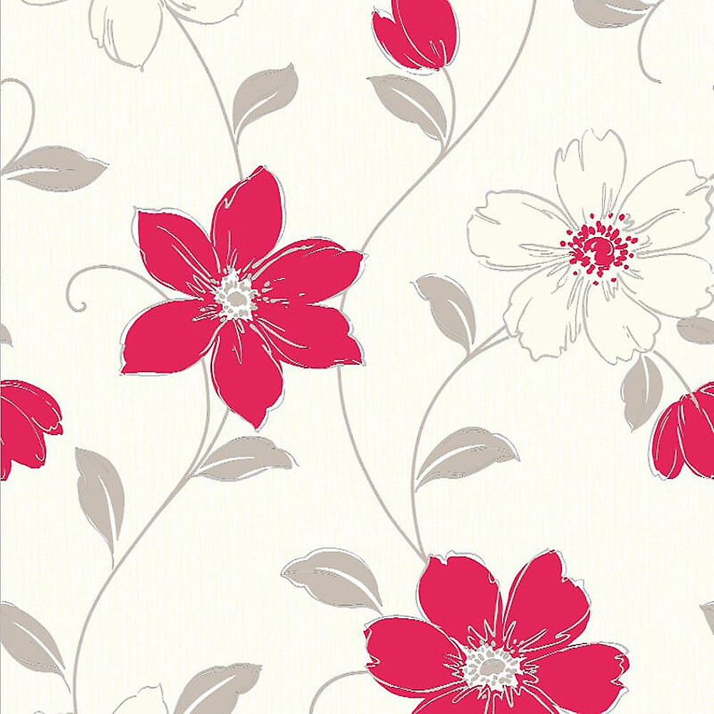 Red Floral Vinyl Wallpaper Flowers Textured Cream Grey Luxury