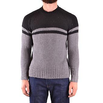 Paolo Pecora Ezbc05950 Men's Grey/black Wool Sweater