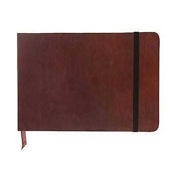 Monsieur Notebook - Real Leather Landscape A6 Brown Dot Grid: Format DinA6 quer - punktraster - Schreibpapier 90 gr - Einbandfarbe: braun