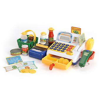 Toyrific Cash Register Till Pretend Shopping Toy With Play Food and Play Money
