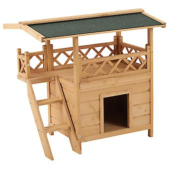 PawHut Wooden Cat House Outdoor Luxury Wood Room Weatherproof Shelter Puppy Garden Large Kennel Crate Natural Wood