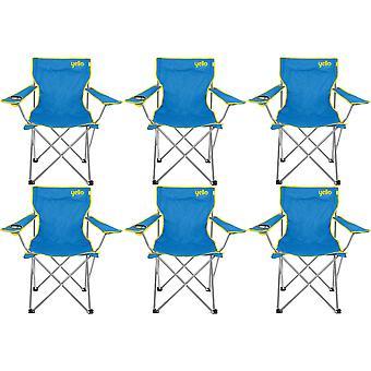 6 Yello dobrar cadeiras de praia para acampar, pescar ou praia - azul