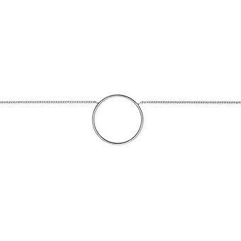 Rhodié sølv halskæde med cirkel 25mm 45cm