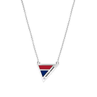 Montreal Canadiens Engraved Sterling Silver Diamond Geometric Necklace In Red and Blue