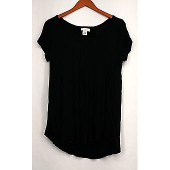 OSO Casuals Small Short Sleeve Lace Up Back Top Black Womens A408363