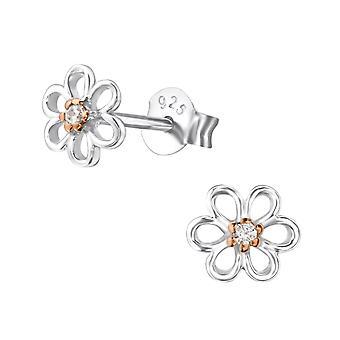 Flower - 925 Sterling Silver Cubic Zirconia Ear Studs - W22858X