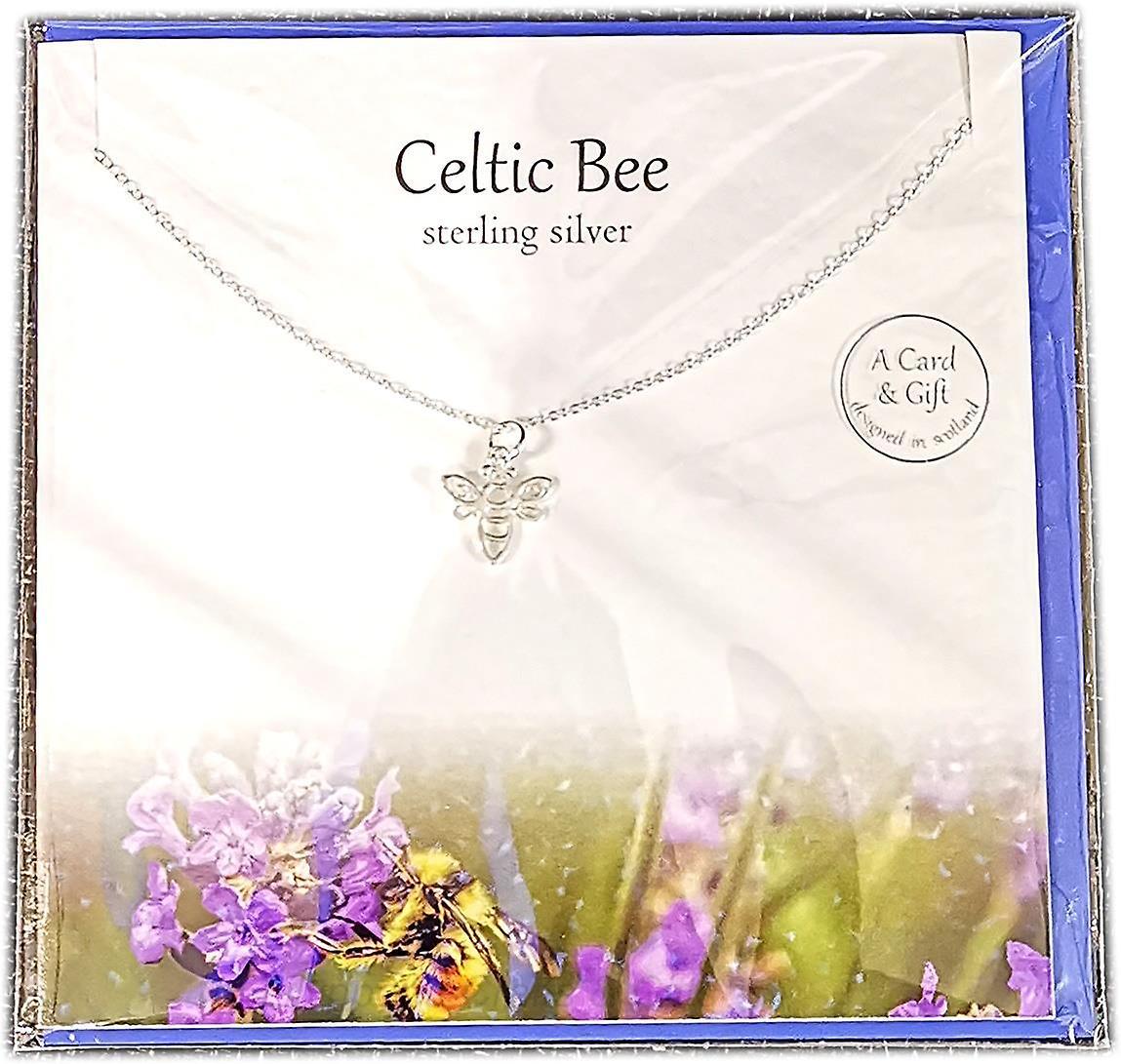 The Silver Studio Scottish Collection Celtic Bee Pendant Card