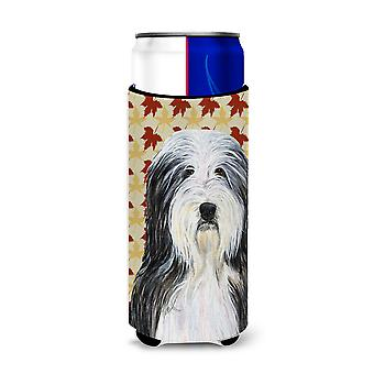 Bearded Collie Fall Leaves Portrait Ultra Beverage Insulators for slim cans SS43