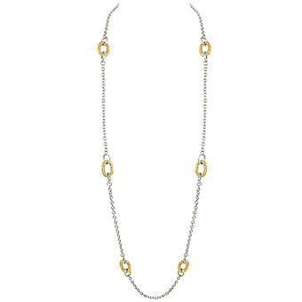 Eternal Collection Melrose Two Tone Gold Long Statement Necklace