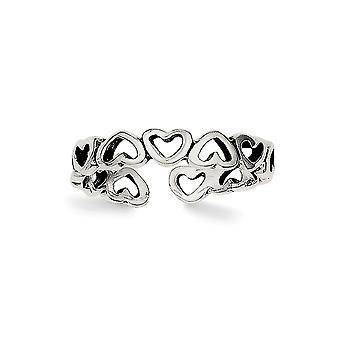 925 Sterling Sølv Solid Vintage finish Kjærlighet Hjerte Tå Ring Smykker Gaver til Kvinner - 1,1 Gram