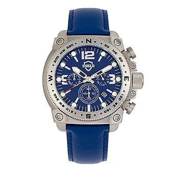 Shield Tesei Chronograph Leather-Band Men's Diver Watch w/Date - Silver/Blue