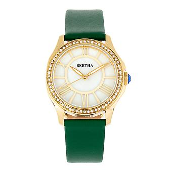 Bertha Donna Mother-of-Pearl Leather-Band Watch - Green