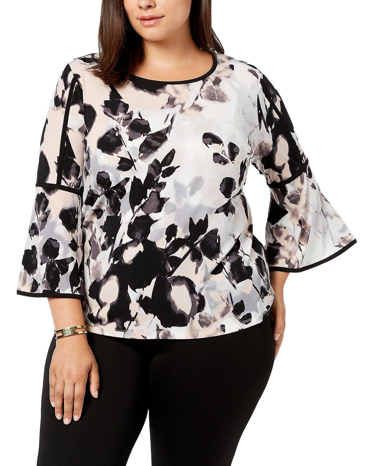 Calvin Klein Printed Bell Sleeve Top With Piping