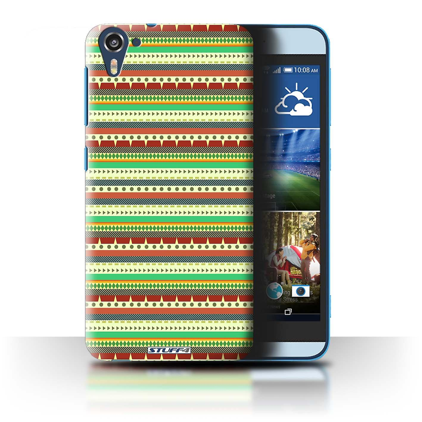 STUFF4 Case/Cover for HTC Desire 826/Green/Red/Aztec Tribal Pattern