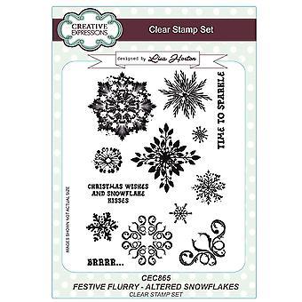 Creatieve uitingen Lisa Horton feestelijke Flurry A5 Clear Stamps - CEC865 gewijzigd sneeuwvlokken